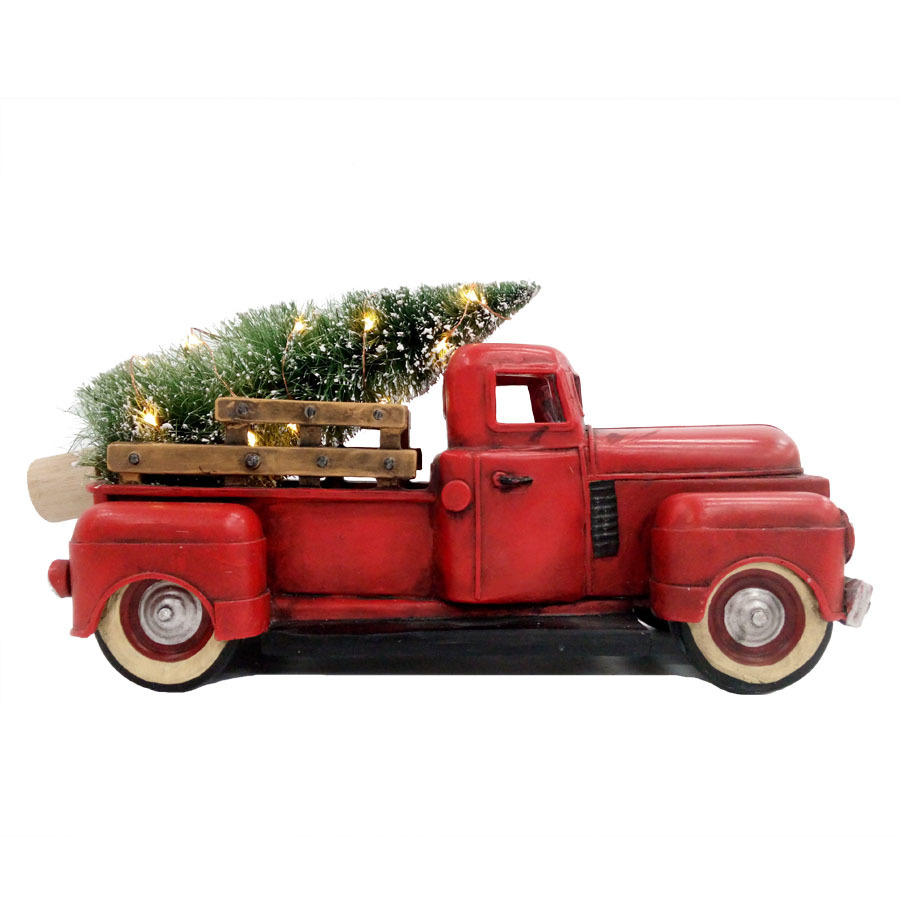 Red Christmas Truck.Red Pickup Truck Led Christmas Tree Vintage Norman Rockwell Antique Chevy Truck